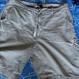 Seersucker Shorts. Green and white